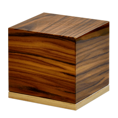 Grooved Wood Keepsake Cremation Urn