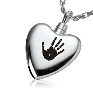 Hand On My Heart Cremation Jewelry