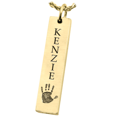 Handprint Bar 14K Gold Pendant Keepsake