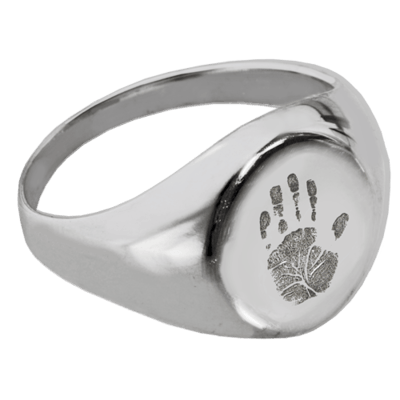 Handprint Sterling Cremation Ring