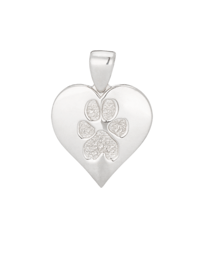 Heart Paw Print Sterling Keepsake