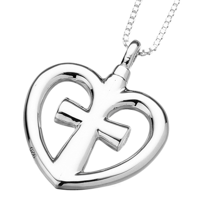 Heart & Cross Cremation Pendant
