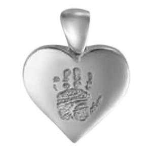 Heart Hand Print Sterling Silver Keepsake