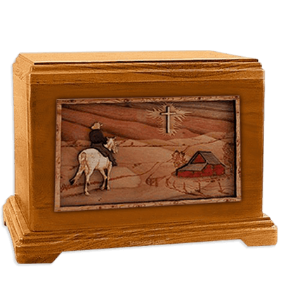 Horse & Cross Mahogany Cremation Urn For Two