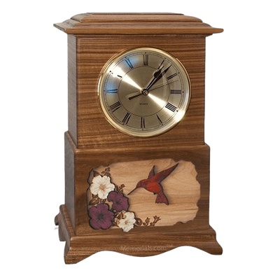Hummingbird Clock Walnut Cremation Urn