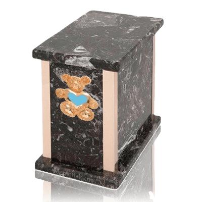Design  Rosso Levanto Teddy Blue Heart Marble Urn