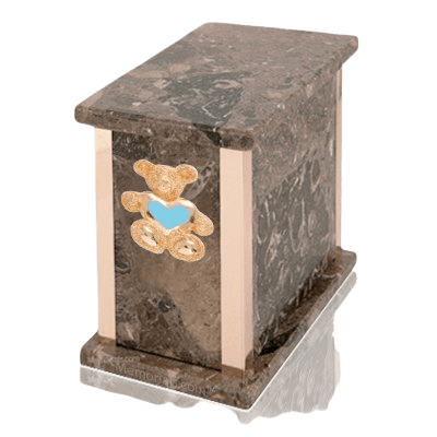 Design Rosatica Teddy Blue Heart Marble Urn