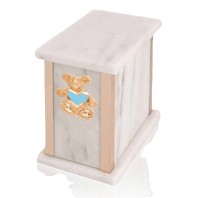 Design Bianco Teddy Blue Heart Marble Urn