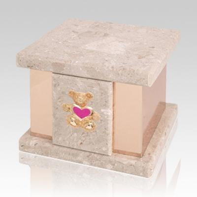 Infinita Perlato Teddy Pink Heart Marble Urn