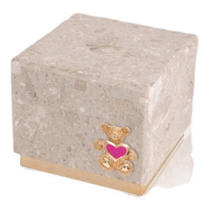 Innocence Perlato Teddy Pink Heart Cremation Urn