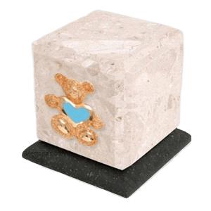 Graceful Perlato Teddy Blue Heart Cremation Urn