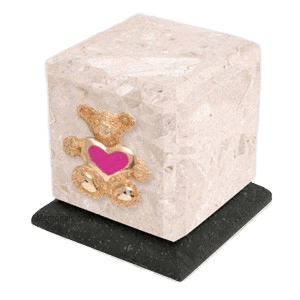 Graceful Perlato Teddy Pink Heart Cremation Urn