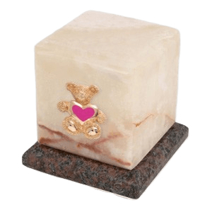 Graceful Mink Teddy Pink Heart Cremation Urn