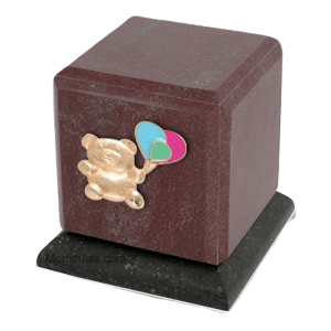 Graceful Rosso Teddy with Balloons Cremation Urn