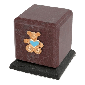 Graceful Rosso Teddy Blue Heart Cremation Urn