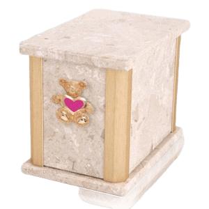 Solitude Perlato Teddy Pink Heart Cremation Urn