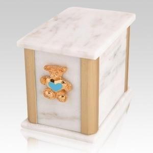 Solitude Bianco Teddy Blue Heart Cremation Urn