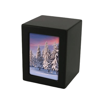 Black Infinity Medium Photo Wood Urn