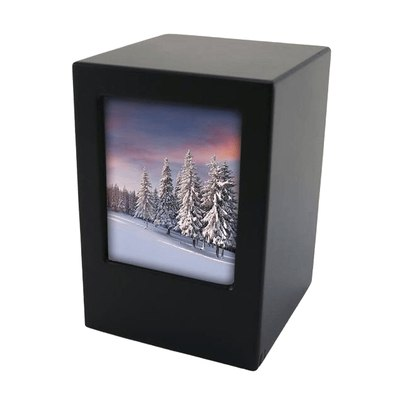 Black Infinity Large Photo Wood Urn
