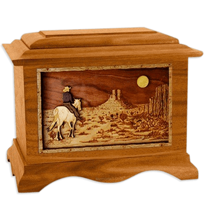 Last Ride Mahogany Cremation Urn For Two