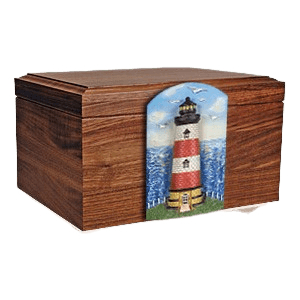 Lighthouse Figurine Wood Cremation Urn