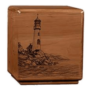 Solemn Lighthouse Wood Cremation Urn