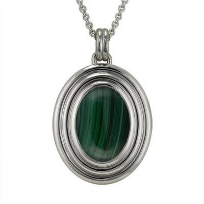 Malachite Ribbed Cremation Pendant