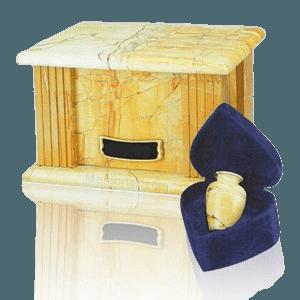 Teakwood Greek Marble Cremation Urns