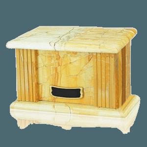 Teakwood Greek Marble Cremation Urn