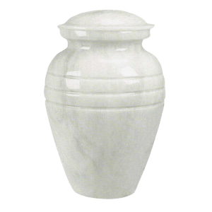 White Classic Marble Cremation Urn