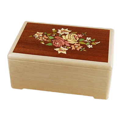 Marquetry Floral Wood Cremation Urn