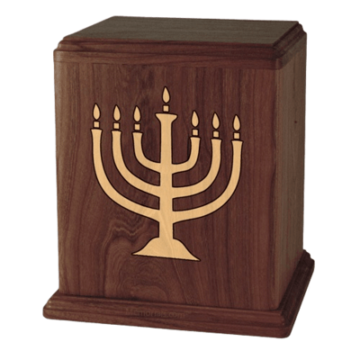Menorah Walnut Cremation Urn