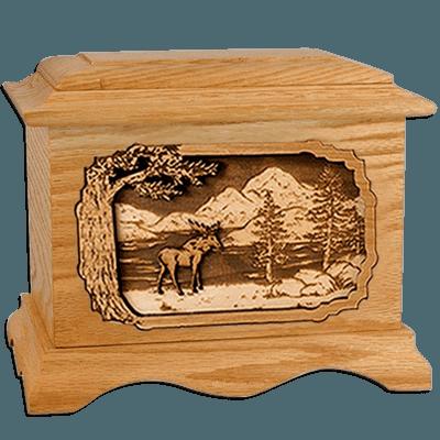 Moose Oak Cremation Urn for Two