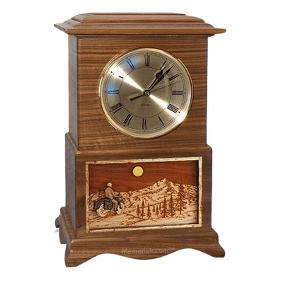 Motorcycle and Moon Clock Walnut Cremation Urn