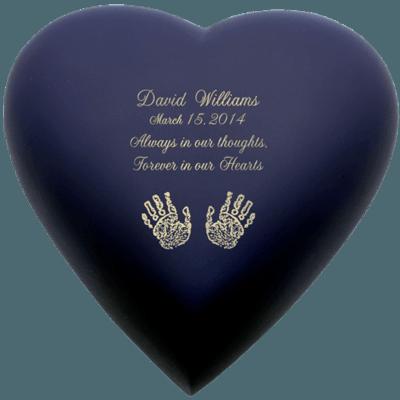 Navy Blue Heart Print Child Cremation Urn