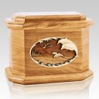 Dolphins Oak Octagon Cremation Urn