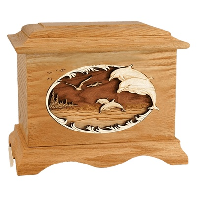 Dolphins Oak Cremation Urn