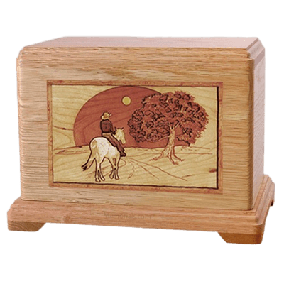 Horse & Moon Oak Hampton Cremation Urn
