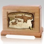 Flying Ducks Oak Cremation Urn For Two