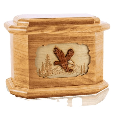 Eagle Oak Octagon Cremation Urn
