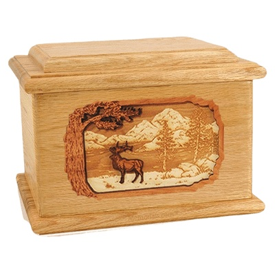 Elk Oak Memory Chest Cremation Urn