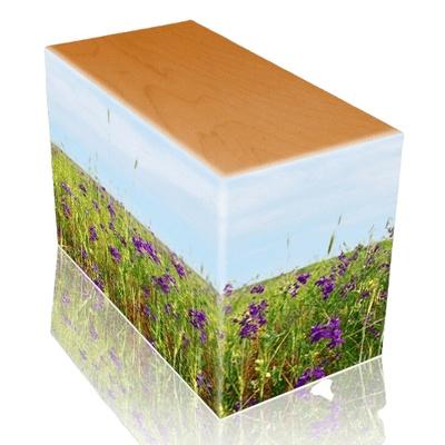 Field of Violets Oak Child Cremation Urn III