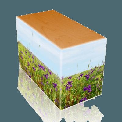 Field of Violets Oak Child Cremation Urn II