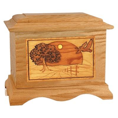 Geese Oak Cremation Urn