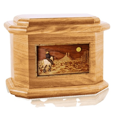 Horse Moon Oak Octagon Cremation Urn