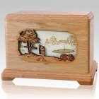 Golf Oak Cremation Urn For Two