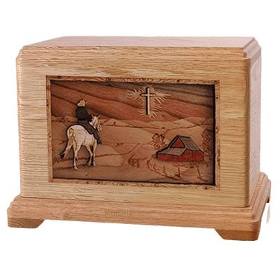 Horse & Cross Oak Hampton Cremation Urn