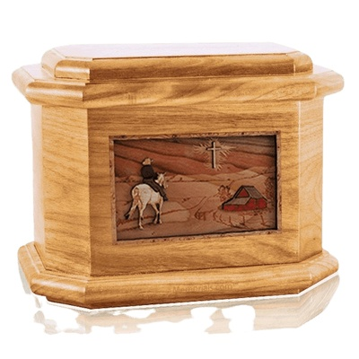 Horse & Cross Oak Octagon Cremation Urn