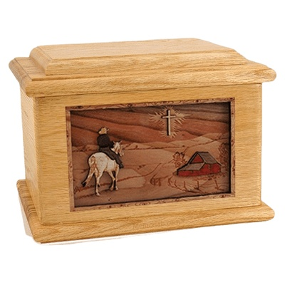 Horse & Cross Oak Memory Chest Cremation Urn