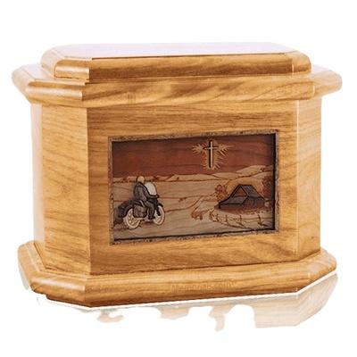 Motorcycle & Cross Oak Octagon Cremation Urn